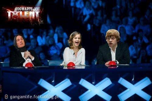 UWAGA! mamy nowych jurorów w Mam talent. z lewej Severus Snape , po śwrodku Hermiona Granger  i po prawej ron Weasley