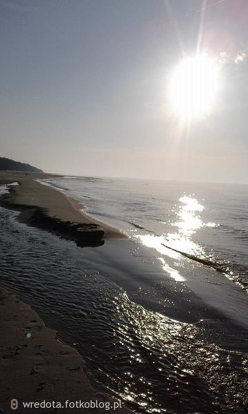 obraz słońca , brzegu i wody Bałtyku.