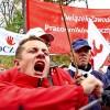 Z manifestacji   :: Około 1,5 tysiąca pracowników Poczty Polskiej manifestowało w sobotę 18.10.2014 przed
